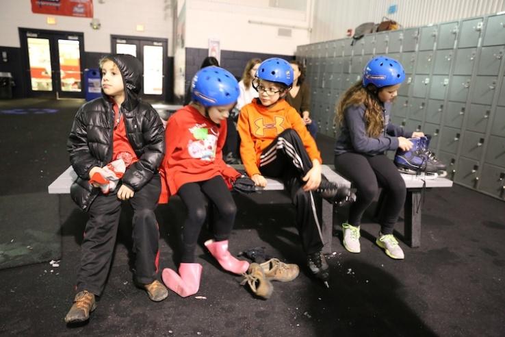 taking off ice skates