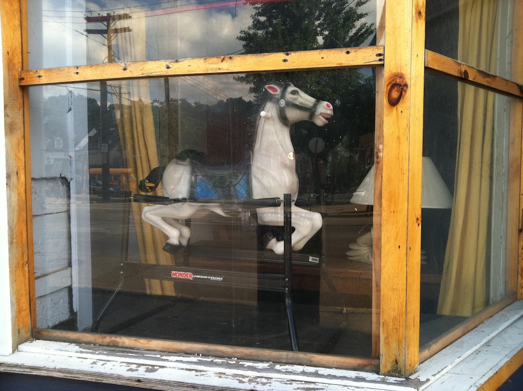 rocking horse in the window
