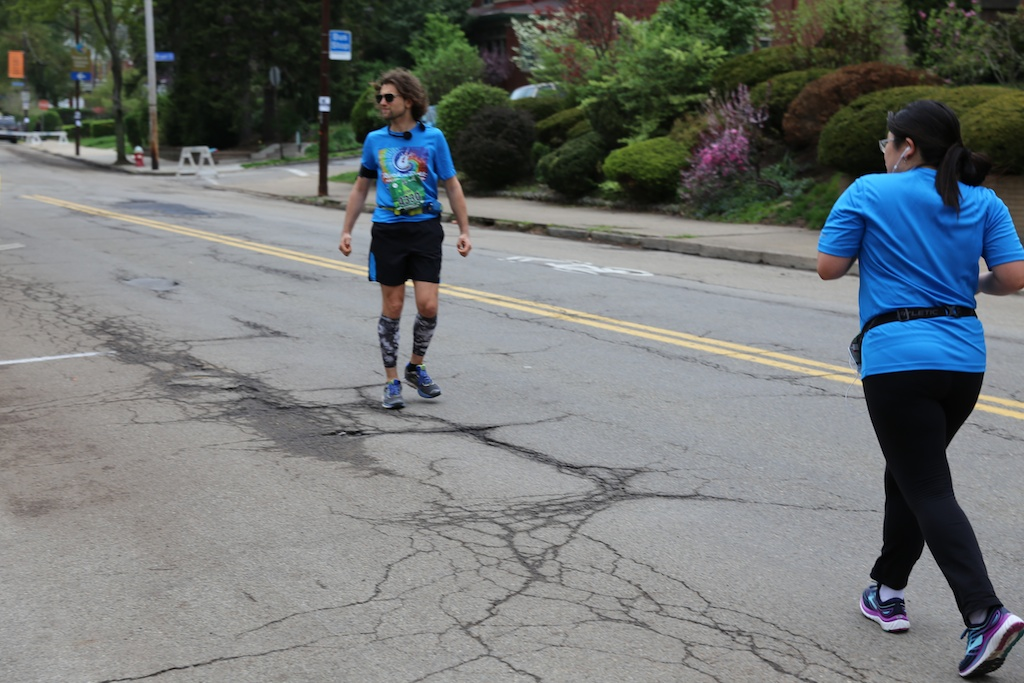 Coaching his wife Marathon