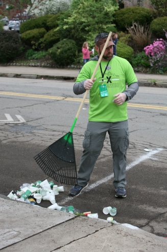 Litter Raking by Volunteer